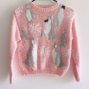 VINTAGE 1990 hand knit penguin sweater small pink
